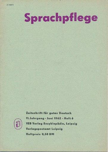 Sprachpflege  Heft 4, 5, 6 und 9/1962