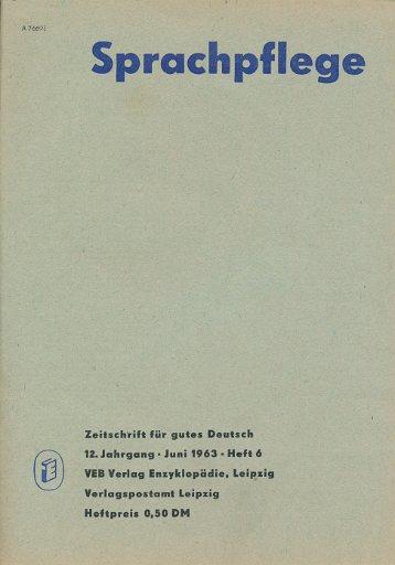 Sprachpflege Heft 6/1963