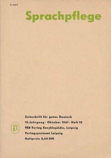 Sprachpflege Heft 9 und 10/1961