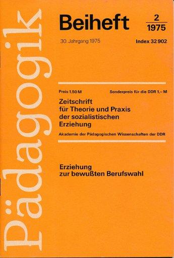 Pädagogik Beiheft 2/1975