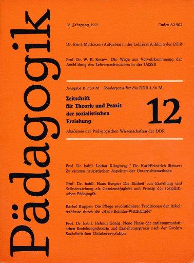 Pädagogik Heft 9, 10, 11 und 12/1971