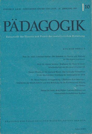 Pädagogik Heft 5, 6, 7, 9 und 10/1970