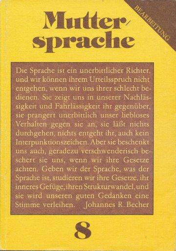 Muttersprache Klasse 8  DDR-Lehrbuch