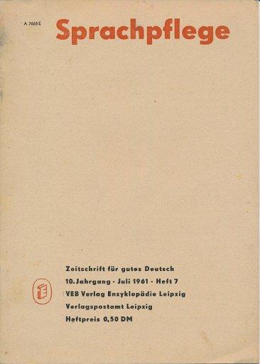 Sprachpflege Heft 7 Juli 1961