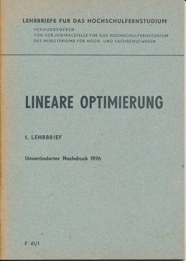 Lineare Optimierung  1. Lehrbrief  DDR-Lehrmaterial