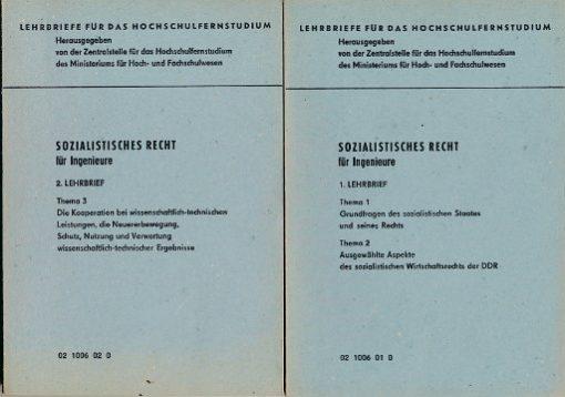 Sozialistisches Recht für Ingenieure  1. und 2.  Lehrbrief  DDR-Lehrmaterial