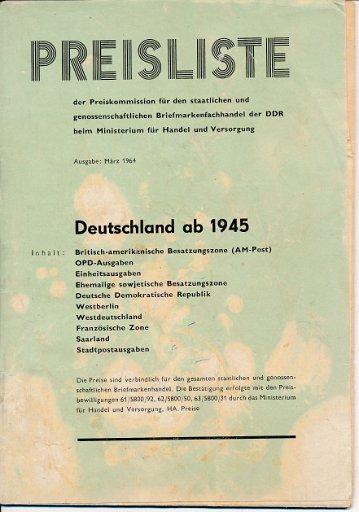 Deutschland ab 1945 – Preisliste der Preiskommission für den staatlichen und genossenschaftlichen Briefmarkenfachhandel der DDR
