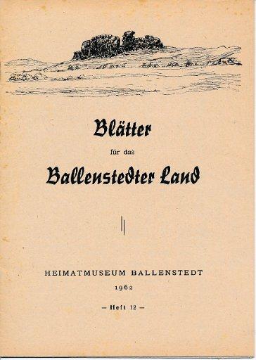 Blätter für das Ballenstedter Land  Heft 12