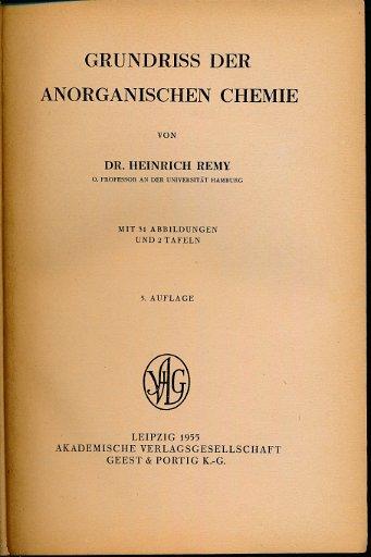 Grundriss der anorganischen Chemie  DDR-Buch