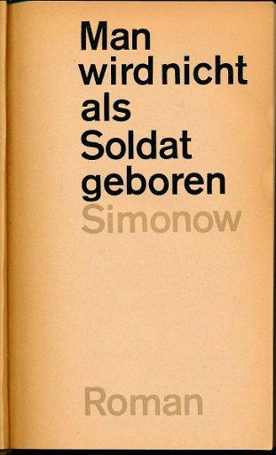 Man wird nicht als Soldat geboren  DDR-Buch
