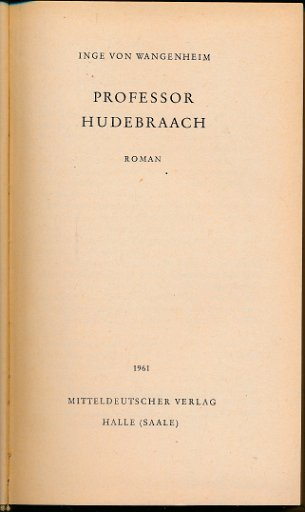 Professor Hudebraach  DDR-Buch
