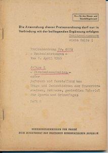 Preisanordnung Straßenbauarbeiten  DDR-Heft