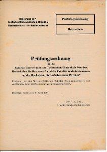 Prüfungsordnung für die Fakultät Bauwesen/Verkehrsbauwesen  DDR-Heft