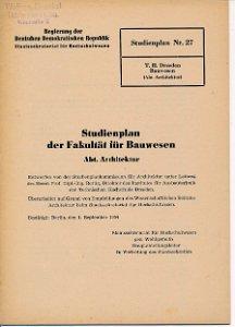 Studienplan der Fakultät für Bauwesen Abt. Architektur  DDR-Heft