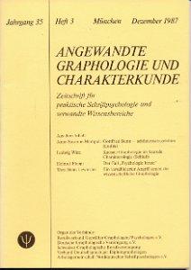 Angewandte Graphologie und Charakterkunde Heft 3/1987