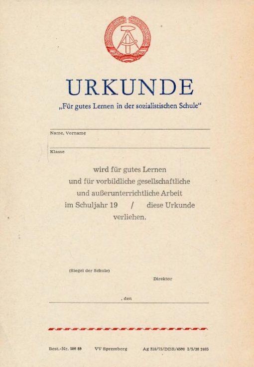 """Urkunde """"Für gutes Lernen in der sozialistischen Schule"""""""