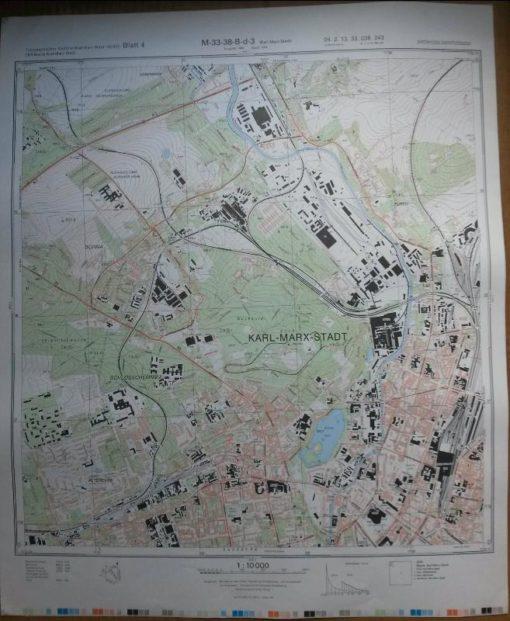 Burgstädt (S) Mühlau Hartmannsdorf Windberg Steinkuppe – Original-Messtischblatt der NVA / M-33-38-B-c-1