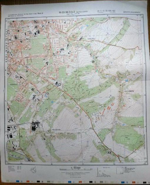 Glauchau (N) Höckendorf Weidensdorf Klosterholz Pfaffroda Dittrich Breitenbach – Original-Messtischblatt der NVA / M-33-38-A-c-3