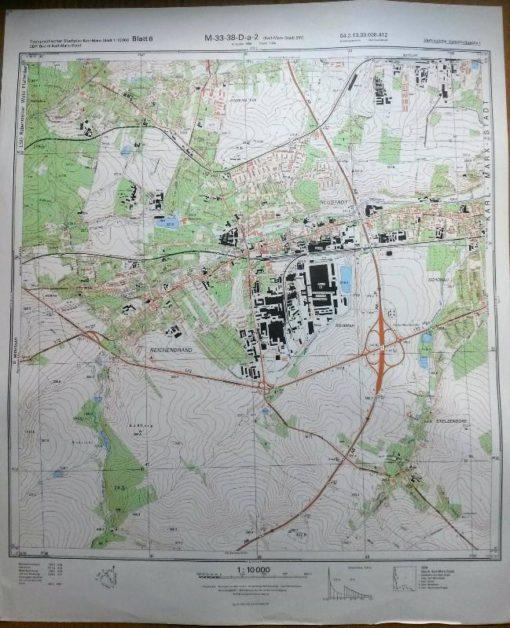Glauchau Stausee Glauchau Niederschindmaas Wernsdorf – Original-Messtischblatt der NVA / M-33-38-C-a-1