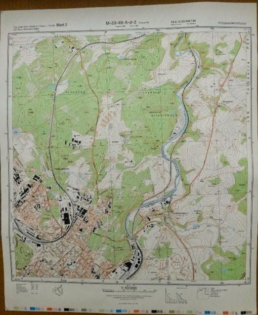 Karl-Marx-Stadt (SO) – Original-Messtischblatt der NVA / M-33-38-D-b-2