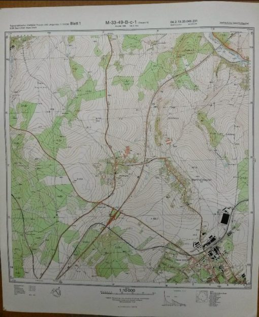 Limbach-Oberfrohna (W) Russdorf Bräunsdorf Falken Meinsdorf – Original-Messtischblatt der NVA / M-33-38-A-d-4