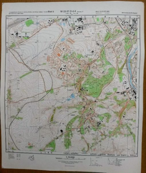 Reichenbach/Vogtl. (NO) Neumark Schönbach Oberreichenbach Brunn – Original-Messtischblatt der NVA / M-33-49-B-a-2