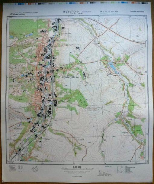Werdau Roter Berg Steinpleis Steinpöhl Robersgrund Königswalde – Original-Messtischblatt der NVA / M-33-37-D-d-1
