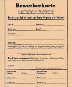 Bewerberkarte für die Verleihung des Sportabzeichens der DDR